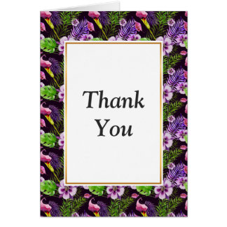 Black purple tropical flora watercolor pattern card