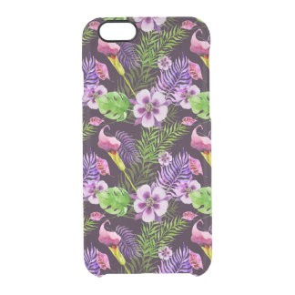 Black purple tropical flora watercolor pattern clear iPhone 6/6S case