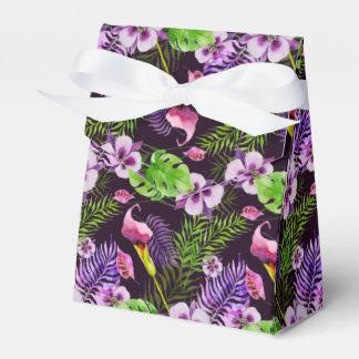 Black purple tropical flora watercolor pattern favour box
