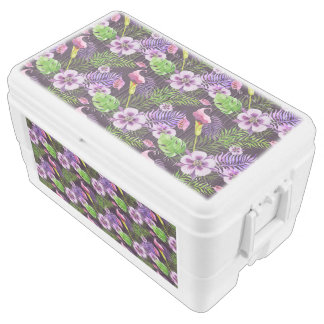 Black purple tropical flora watercolor pattern ice chest