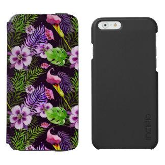 Black purple tropical flora watercolor pattern incipio watson™ iPhone 6 wallet case