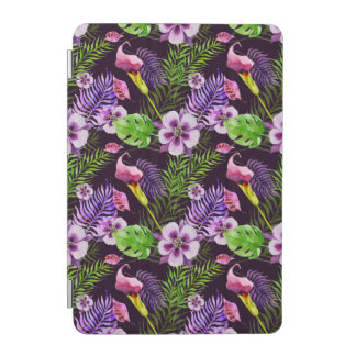 Black purple tropical flora watercolor pattern iPad mini cover