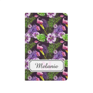 Black purple tropical flora watercolor pattern journal