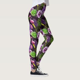 Black purple tropical flora watercolor pattern leggings