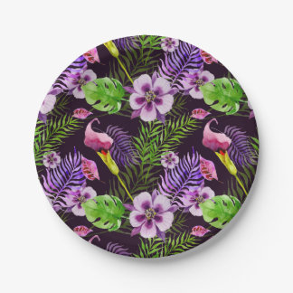 Black purple tropical flora watercolor pattern paper plate