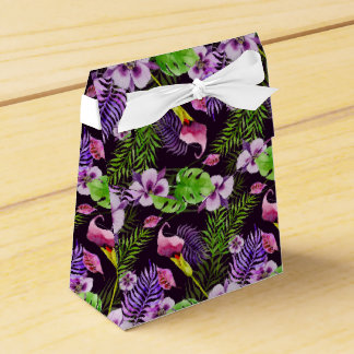 Black purple tropical flora watercolor pattern party favour box