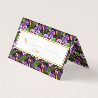 Black purple tropical flora watercolor pattern place card