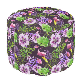 Black purple tropical flora watercolor pattern pouf