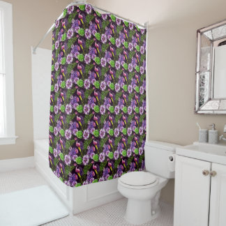 Black purple tropical flora watercolor pattern shower curtain