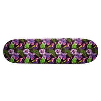 Black purple tropical flora watercolor pattern skateboard deck