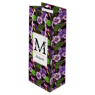 Black purple tropical flora watercolor pattern wine gift bag