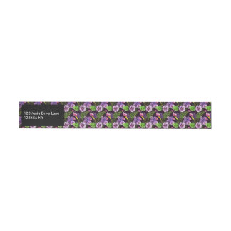 Black purple tropical flora watercolor pattern wraparound address label