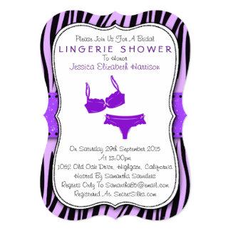 "Black & Purple Zebra Print Bracket Lingerie Shower 5"" X 7"" Invitation Card"