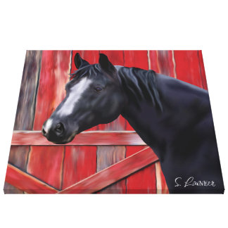 Black Quarter Horse Portrait Canvas Print