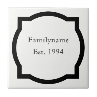 Black quatrefoil Family Name Sign Ceramic Tile