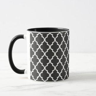 Black Quatrefoil Mug