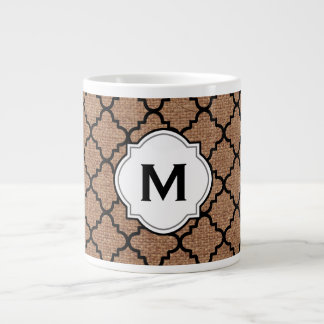 Black Quatrefoil on Rustic Burlap – Monogram Chic Large Coffee Mug
