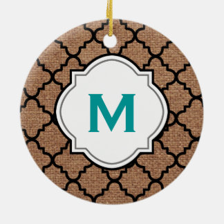 Black Quatrefoil on Rustic Burlap – Teal Monogram Round Ceramic Decoration