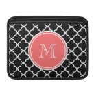 Black Quatrefoil Pattern, Coral Monogram Sleeve For MacBook Air