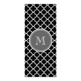 Black Quatrefoil Pattern, Gray Monogram 10 Cm X 24 Cm Invitation Card