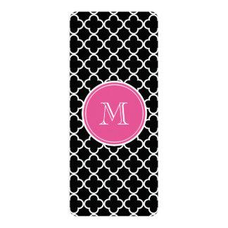 "Black Quatrefoil Pattern, Hot Pink Monogram 4"" X 9.25"" Invitation Card"