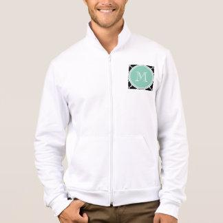 Black Quatrefoil Pattern, Mint Green Monogram Jacket