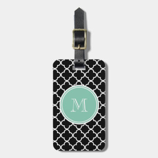 Black Quatrefoil Pattern, Mint Green Monogram Luggage Tag