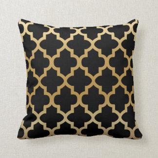 Black Quatrefoil Pattern on Gold Blend Cushion