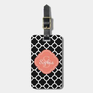 Black Quatrefoil Pattern Peach Monogram Luggage Tag