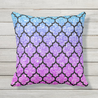 Black Quatrefoil With Pink & Blue Glitter Outdoor Cushion