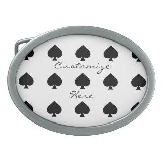 black queen of spades pattern white belt buckle