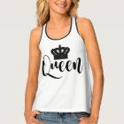 Black QUEEN Royal Crown Girls Trendy Chic Pattern Singlet