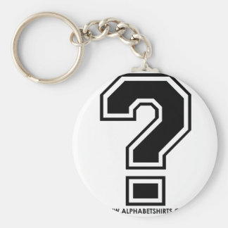 Black Question Mark Basic Round Button Key Ring