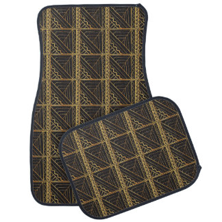 Black Quilted Stair Step Gold ZigZag Abstract Floor Mat