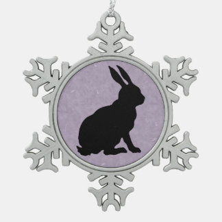 Black Rabbit Silhouette Easter Bunny Pewter Snowflake Decoration