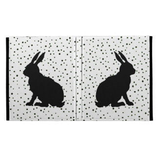 Black Rabbit Silhouette Easter Bunny Polka Dots iPad Folio Cover