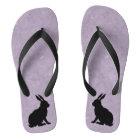 Black Rabbit Silhouette Easter Bunny Thongs