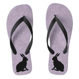 Black Rabbit Silhouette Easter Bunny Thongs