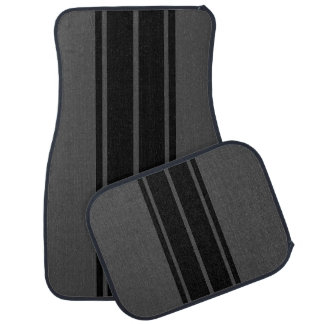 Black Race Double Stripes Floor Mat
