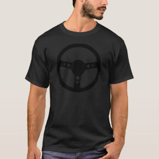 black racing steering wheel icon T-Shirt