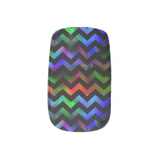 Black Rainbow Chevron Nail Art