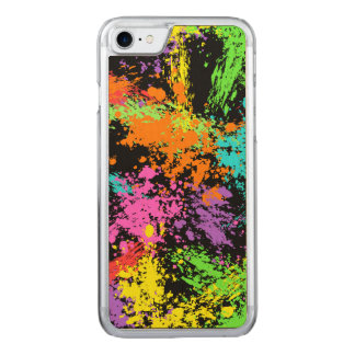 Black Rainbow Splattered Carved iPhone 7 Case