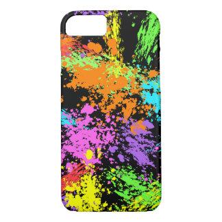 Black Rainbow Splattered iPhone 7 Case