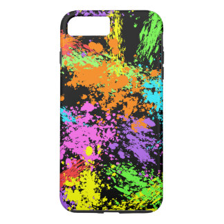 Black Rainbow Splattered iPhone 7 Plus Case