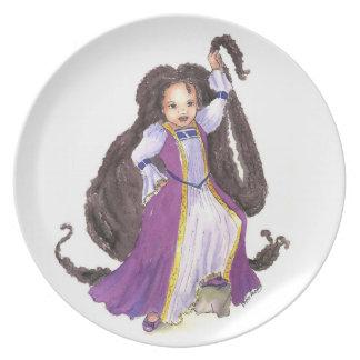 Black Rapunzel Princess with Twists plate