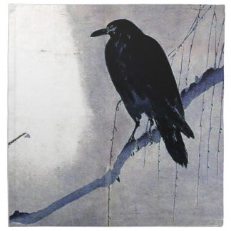 Black Raven Bird Antique Napkin