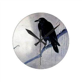 Black Raven Bird Antique Round Clock