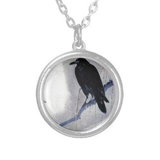Black Raven Bird Antique Silver Plated Necklace