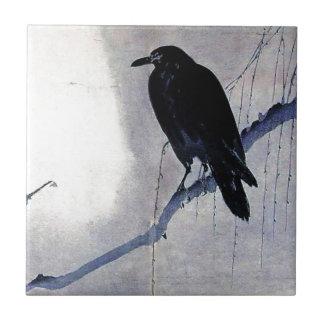 Black Raven Bird Antique Tile
