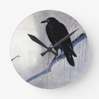 Black Raven Bird Antique Wallclock